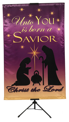 CHRISTMAS- Unto You is Born A Savior (Mary and Joseph) Wall Banner