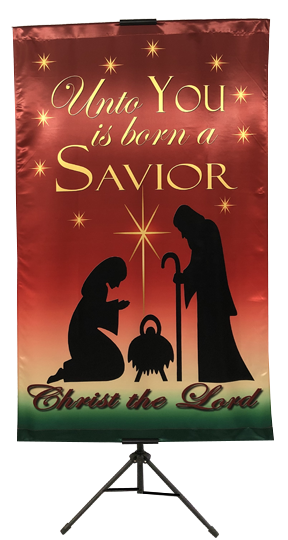 CHRISTMAS- Unto You is Born A Savior (Mary and Joseph) Vertical Banner