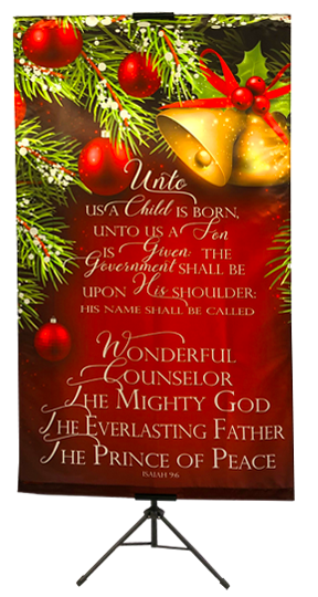 CHRISTMAS- Unto Us a Child is Born This Day (Bells) Wall Banner