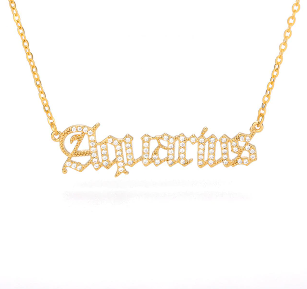 Aquarius - Iced-Out Zodiac Necklace