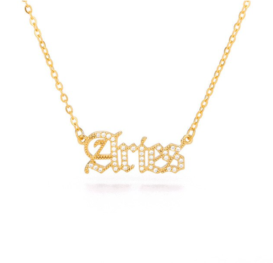 Aries- Iced-Out Zodiac Necklace