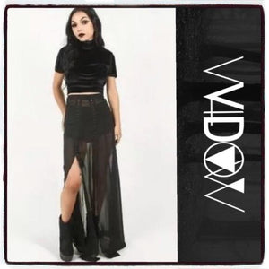 Widow Embossed Stretch Velvet Top