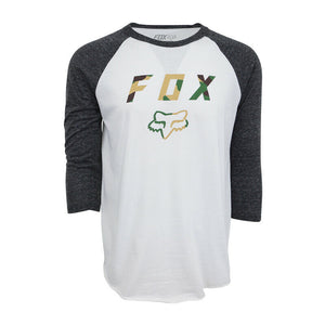 FOX RACING MENS CAMO LOGO RAGLAN T SHIRT