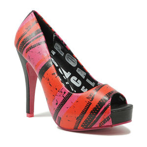 ABBEY DAWN LADIES ZIP IT PLATFORM SHOES HOT PINK