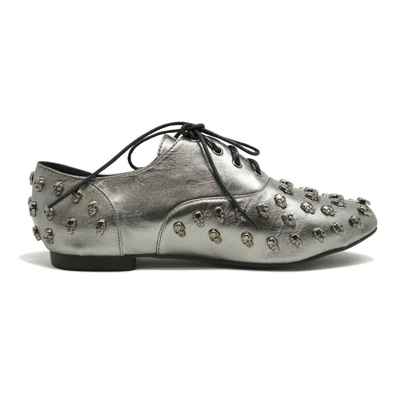 ABBEY DAWN WOMENS TOUGH CROWD OXFORD FLAT PEWTER