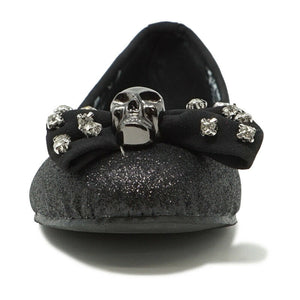ABBEY DAWN WOMENS GLITTER SKULL FLAT BLACK