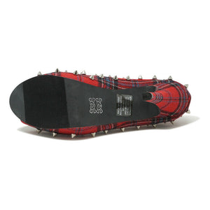 ABBEY DAWN WHAT THE HELL PEEP TOE STUDED PLATFORM HEELS PLAID