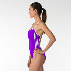 ADIDAS WOMENS 1PIECE 3 STRIP SOLID C BACK SWIMSUIT PURPLE