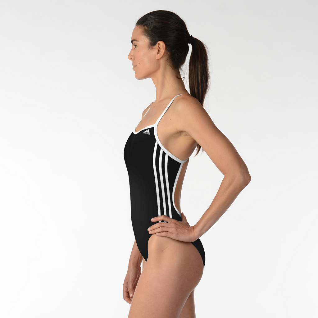ADIDAS WOMENS 1PIECE 3 STRIP SOLID C BACK SWIMSUIT BLACK