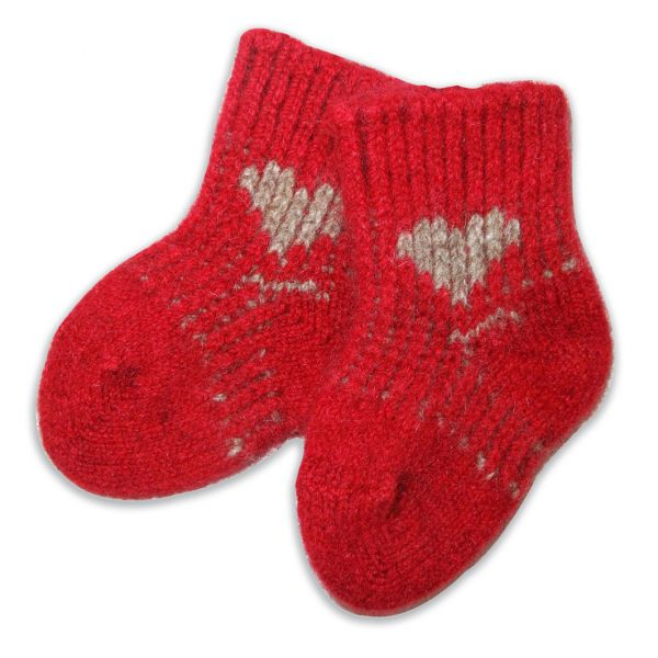 Baby Socks - Newborn to 6 months - Red with Beige Heart