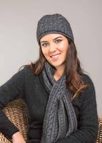 Cable Scarf - Grey (with Beanie)