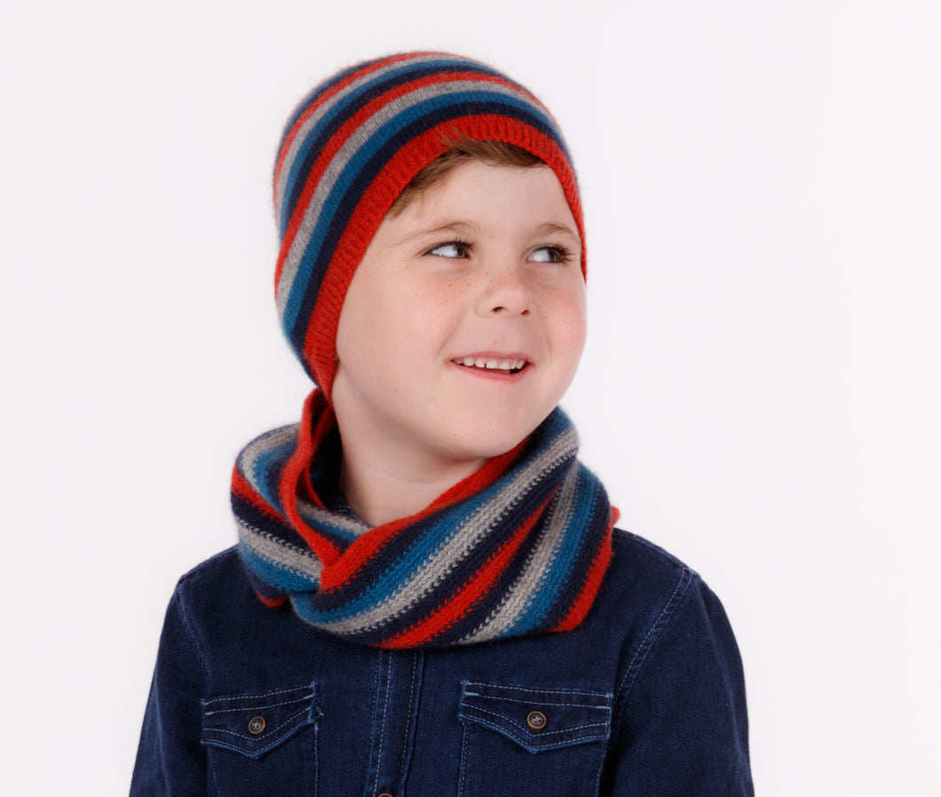 Ruby - Kid's Striped Beanie & Loop Scarf