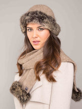 Load image into Gallery viewer, Fur Trim Beanie & Scarf in Mocha/Snowtip