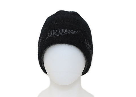 Black Beanie with Fern detail