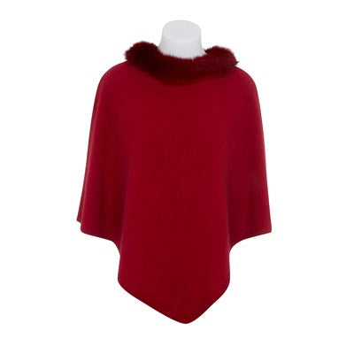 Possum Trim Poncho - Berry