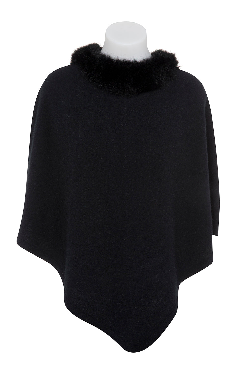 Possum Trim Poncho - Black