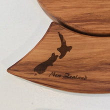 Load image into Gallery viewer, Rimu Koru Trivet with NZ Map Motif - Naturally Wood