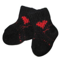 Load image into Gallery viewer, Baby Socks - Newborn to 6 months - Black with Red Heart