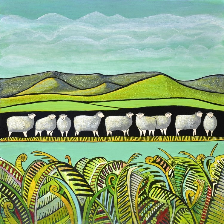 Sheep Watching Paper Print - Box Frame