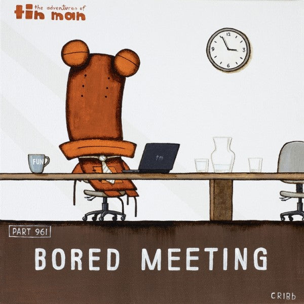 Bored Meeting - Tin Man Framed Print by Tony Cribb