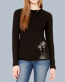 Ladies Long Sleeve Merino Tee - Black with Nikau motif