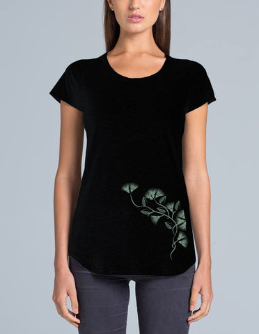 Black Merino Scoop Neck Ladies Tee Shirt - Short Sleeve