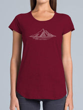 Load image into Gallery viewer, Ladies Short Sleeve Merino Tee - Deep Wine with Mountain motif