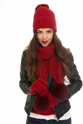 Rata Pom Pom Scarf, with Pom Pom Beanie and Fur Trim Gloves