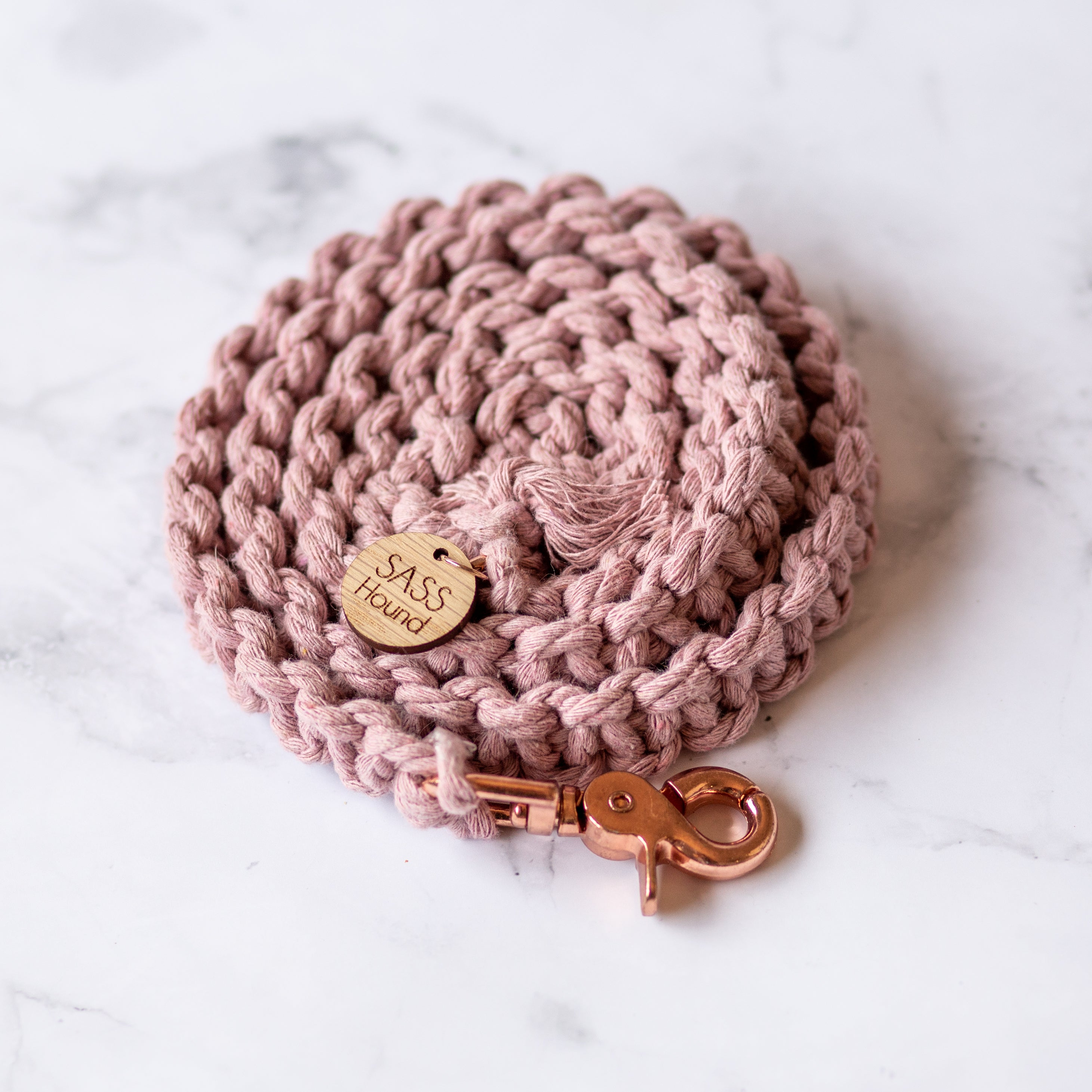 Blush Pink Macrame Dog Lead