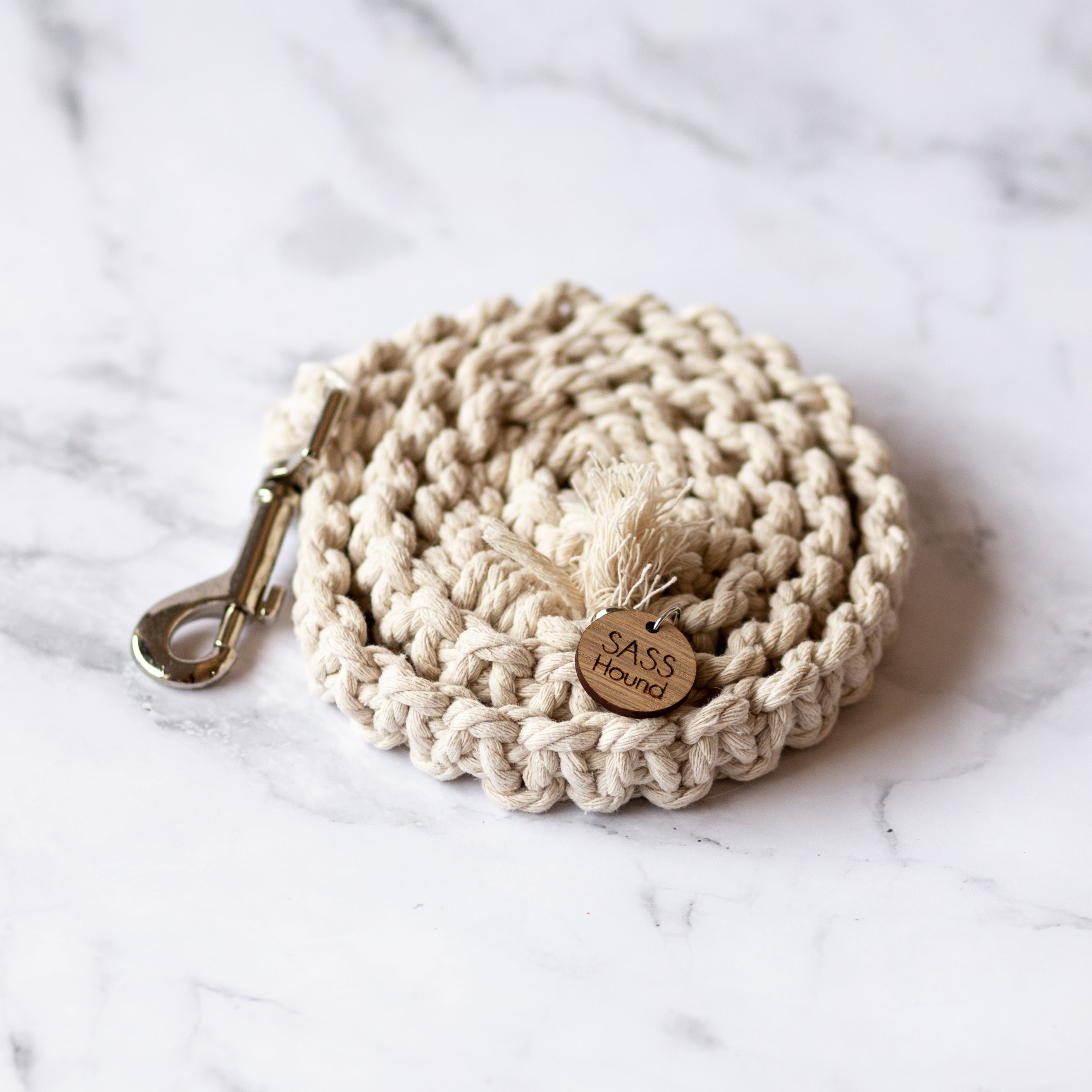 Natural Macrame Dog Lead