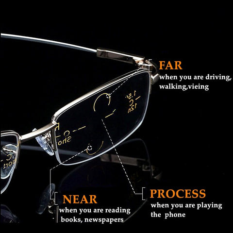 2020 Metal Multifocal Reading Glasses Progressive Bifocal Anti Blue Ray UV Protect Presbyopic Glasses Half Frame Men Women