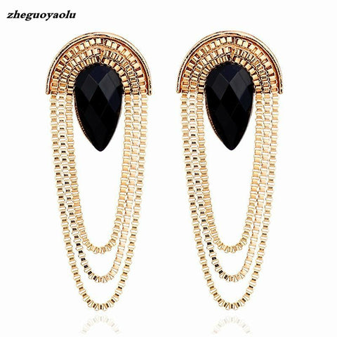 2019 Big Fashion Retro Scalloped Metal Black Imitation Gemstone Long Tassel Earrings Wholesale Earrings For Women Oorbellen