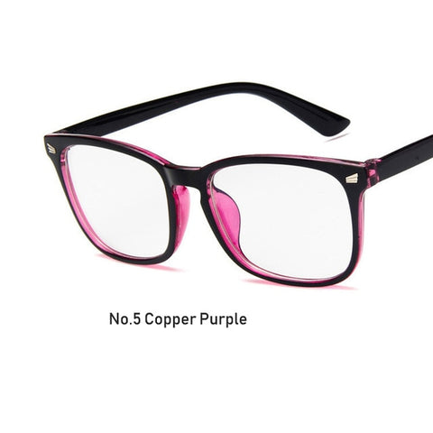 Womens Sexy Vintage UV400 Spectacle Square Glasses Frame Computer Gaming Clear Lens Anti-UV Anti Blue Light Rivet Eyeglasses