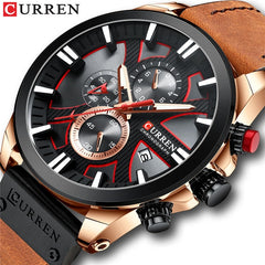 CURREN Top Luxury Brand Men's Military Waterproof Leather Sport Quartz Watches Chronograph Date Fashion Casual Men's Clock 8346