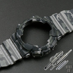 Camo Resin Strap Case Men's Pin Buckle Watch Accessories for G-SHOCK GA-110 GA-100 GD-120 5146 5081 Waterproof Rubber Strap