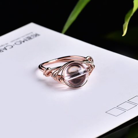 1PC new fashion natural crystal ring rose quartz amethyst jewelry quartz crystal party jewelry DIY gift couple jewelry