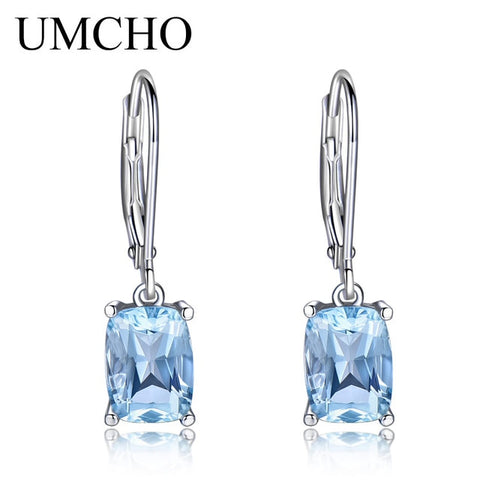 UMCHO Genuine 925 Sterling Silver Sky Blue Topaz Drop Earrings Elegant Gemstone Wedding Engagement Jewelry For Women Gifts