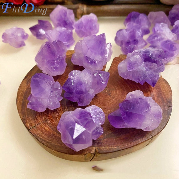 Natural Amethyst Natural Ore Crystal Crystal Ore Repair Healing Crystal Can Be Used for Home Decoration DIY Gift Purple Stone