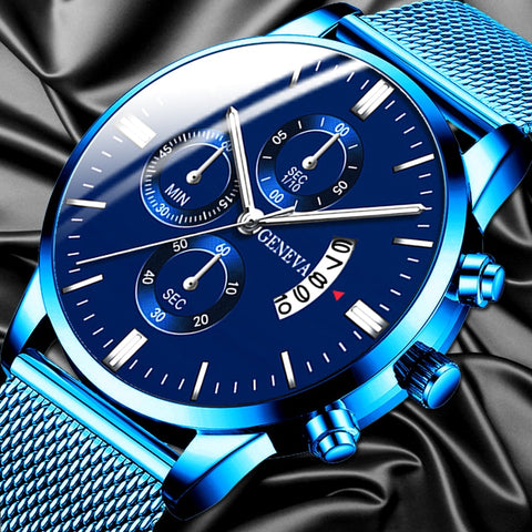 2020 Men's Fashion Business Calendar Watches Luxury Blue Stainless Steel Mesh Belt Analog Quartz Watch relogio masculino