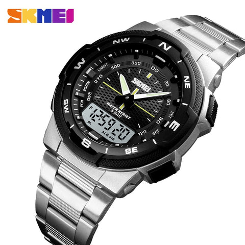 SKMEI Watch Men's Watch Fashion Sport Watches Stainless Steel Strap Mens Watches Stopwatch Chronograph Waterproof Wristwatch Men