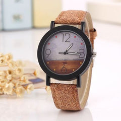 New flower surface wood grain leather watch men's quartz sports watch fashion men and women clock high quality wrist watch