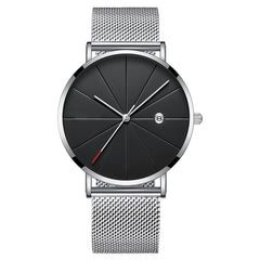 Relogio Masculino Men's Watch Luxury Ultra-thin Watch Men Steel Mesh Belt Fashion Watch Monte Homme Calendar Clock Reloj Hombre