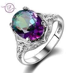Genuine Rainbow Fire Mystic Topaz Ring 925 Sterling Silver Ring Fine Jewelry Gift For Women Lady Girls Wholesale