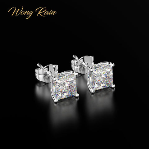 Wong Rain Classic 100% 925 Sterling Silver Created Moissanite Gemstone Anniversary Wedding Earrings Fine Jewelry Gift Wholesale