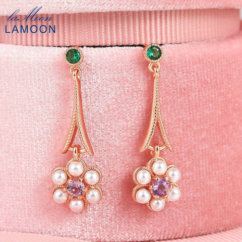 LAMOON 925 Sterling Silver Drop Earring For Women Pearl Flower Amethyst Gemstone Rose Gold Plated Fine Jewelry Korean LMEI091