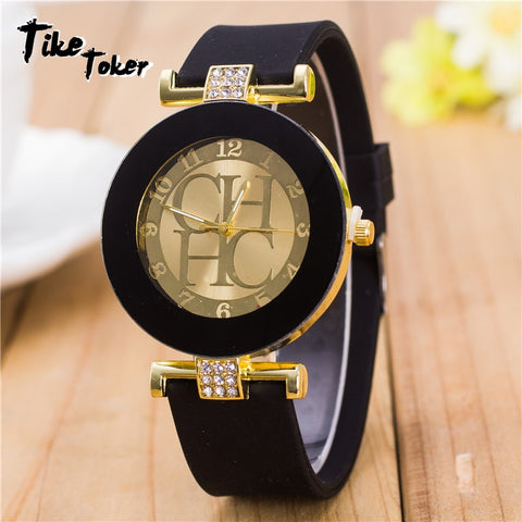 2020 Hot sale Fashion Black Geneva Casual CHHC Quartz Women watches Crystal Silicone Watches Relogio Feminino men's Wrist Watch
