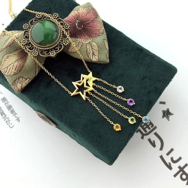 LAMOON 925 Sterling Silver NecklaceStar Tassel Shooting Star Gemstone Pendant 14K Gold Plated Fine Jewelry For Women LMNI098