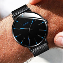 GENEVA Brand Simple Watch Men Clock Stainless Steel Mesh Men's Watches Black High Quality Quartz Wristwatch relogio masculino