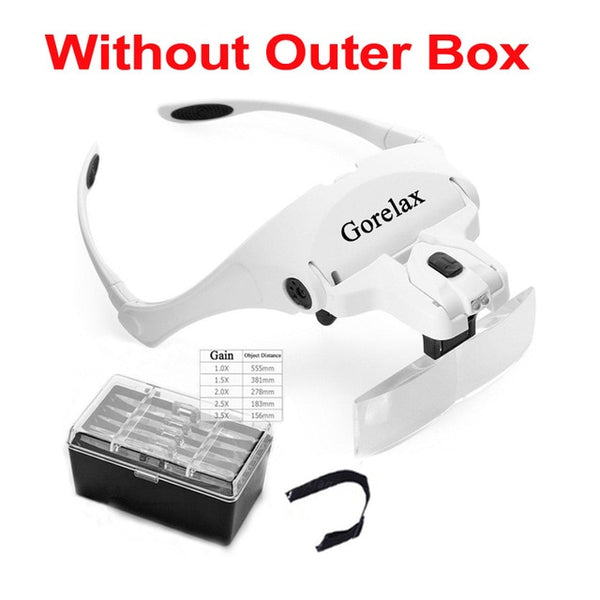 Magnifying Glasses LED Light Lamp Head Loupe Jeweler Headband Magnifier Eye Glasses Optical Glass Tool Repair Reading Magnifier