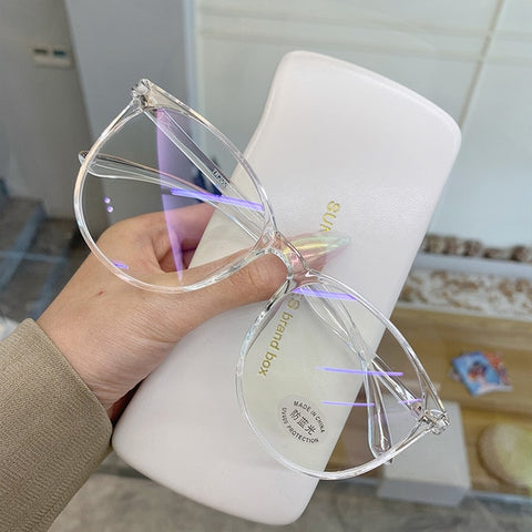 UVLAIK Transparent Computer Glasses Frame Women Men Anti Blue Light Round Eyewear Blocking Glasses Optical Spectacle Eyeglass